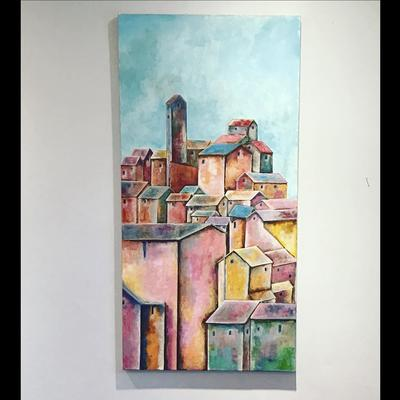 Hillside Village, Tuscany Acrylic on stretched canvas H100cm x W50cm  £250.00
