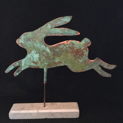 Copper verdigris leaping hare. Cherry Jaquet /City