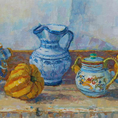 Tuscan Jugs with Yellow Squash (detail) -oil on canvas