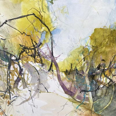 'Earth Song 1.' Abstract watercolour & mixed media of woodland, colours gold and blue