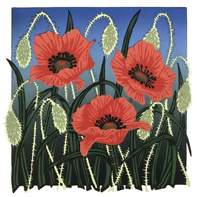 Tall Poppies, Linocut by Gerry Coles