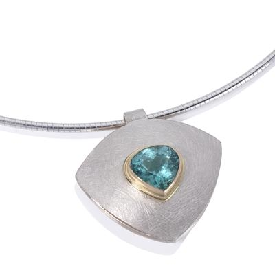 Silver, 18ct gold & tourmaline necklace.