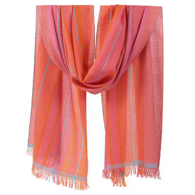 Handwoven silk and cashmere shawl