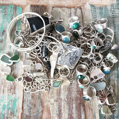 Treasure trove of sterling silver jewellery with sea-glass, found china and semi-precious stones