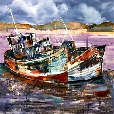 Mixed media with collage. 3 Derelict boats Jessica Parker
