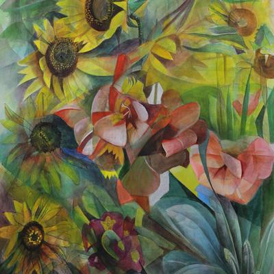 Watercolour mixed media painting by Julia Sorrell RI of Sunflowers and other flowers.