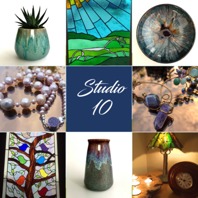 Open studio showcasing stained glass, jewellery, pottery and woodwork.