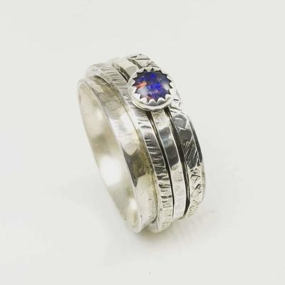 Sterling Silver & Opal Spinner Ring by Liz Dee