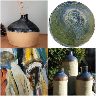 Abstract painting, round flow painting, Hand built pottery and ceramics inspired by nature