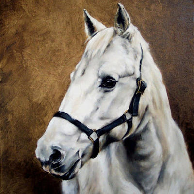 Oil Painting of Grey Horse