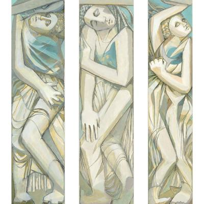 """Three Caryatids"" (acrylic): inspired by Greek sculpture and the theme of ""identity"""