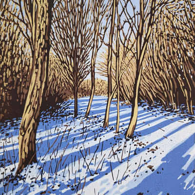 Snow Shadows, linocut by Alexandra Buckle