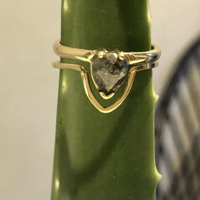 Salt & Pepper Diamond 9k gold ring and nesting ring