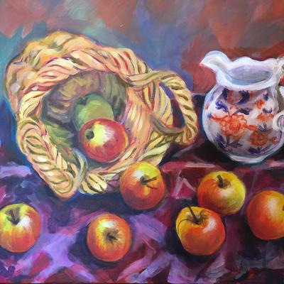 Apples, acrylic on canvas