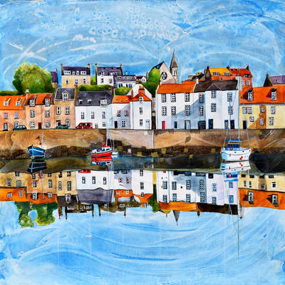 St Monans, Fife. Original Mixed Media Painting. Framed Size 54cm x 54cm. Price £595