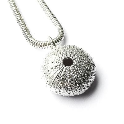 Solid silver sea urchin necklace