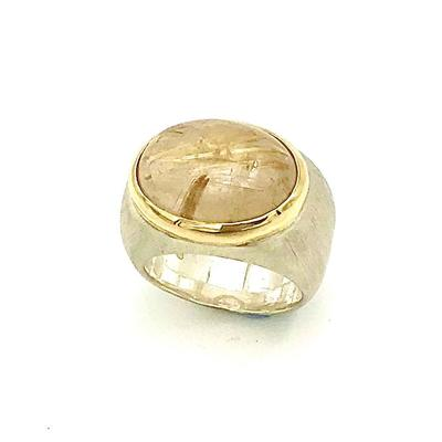 'Bella' ring -rutilated quartz with 18ct yellow setting on heavy silver ring.