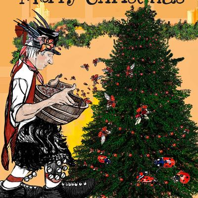 A morris dancer decorating a Christmas tree with Ladybirds