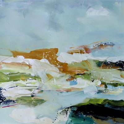 Peat & Moss -     Splashes of ochre and green mix with black and blue smears to suggest the dampness of mossy pools. Abstract, acrylic on paper, 68x69cms, framed £550