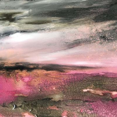 Cliffs of Heather, £150, Mixed Media on board, Framed size=32x40cm