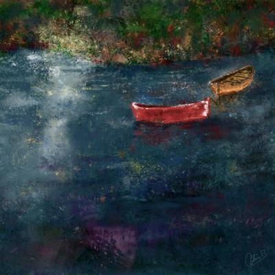Rowing boats. Digital art print. 20x20cm