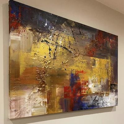 'Bleeding Gold' large abstract deep edge canvas