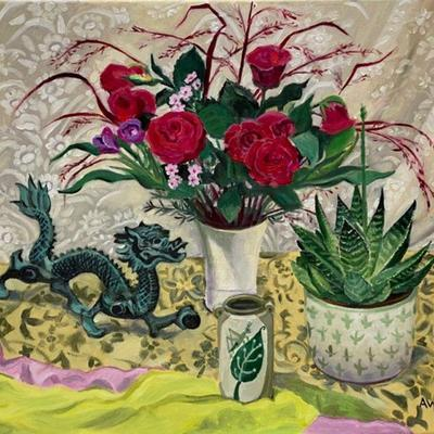 Shanghai Dragon & Grasshopper Pot, oil