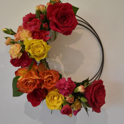 Summer Is Here ; Roses & Carnation wreath hanging
