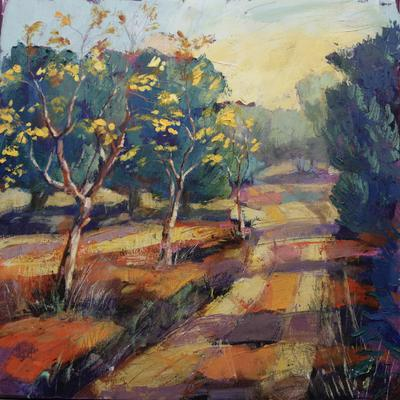 Francesca Shakespeare Path, Almond, Olives oil on canvass 50x50cm £650 framed