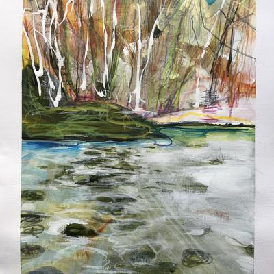 CSLewis nature reserve frozen water. W24.5xH37cm. Acrylic and pastel on paper. £150 framed.