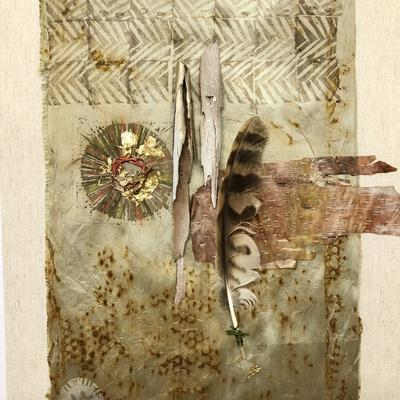 Kite feather and silver birch bark. Rusted silk, overprinted and stitched. 45x60 cms
