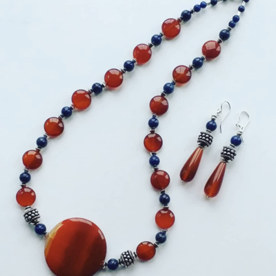 Carnelian, lapis & silver necklace £65, earrings £30