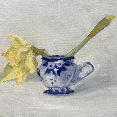 "Custard Cup and Daffodils 6"" x 6"" oil on board"