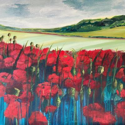 Jo Lillywhite 'Corn Poppy Field' £420 50x60cm acrylic on canvas