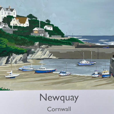 Newquay, Cornwall in railway poster style by John Seaton. Price £100.