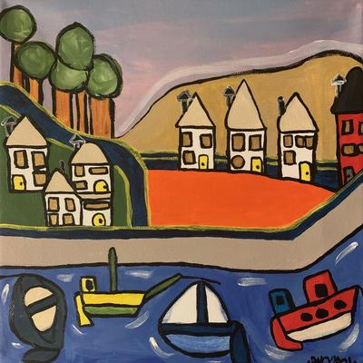 Small Harbour 2021 - Acrylic on Canvas 30.5cm sq - 65GBP