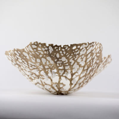 Hydrangea leaf skeleton sculpture, parian porcelain