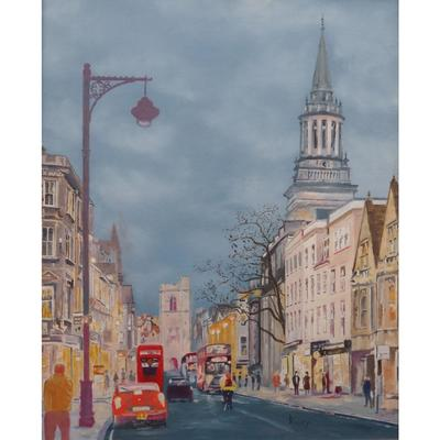 Oxford High Street, Oil on Board, 44 x 54 cm, framed