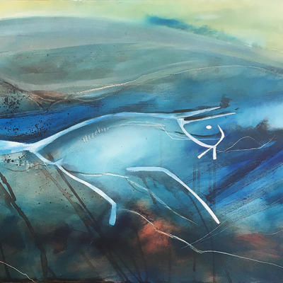 White Horse in the Mist - detail. Giclée 70cm x 40cm  - £150 unframed