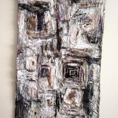 'Windows looking Back' collaged, painted and stitched hanging