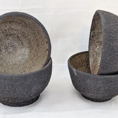 Occasional Serving Bowls. Vulcan Black Clay, Inner White Glaze & Outer Nude.