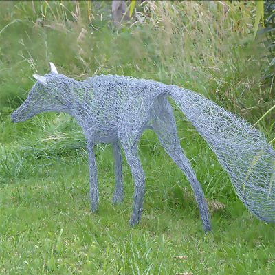 Silver Fox. Life-size garden sculpture. Mixed wires. £250