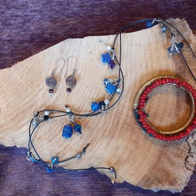 earrings & blue semi precious stone lariat & bracelet