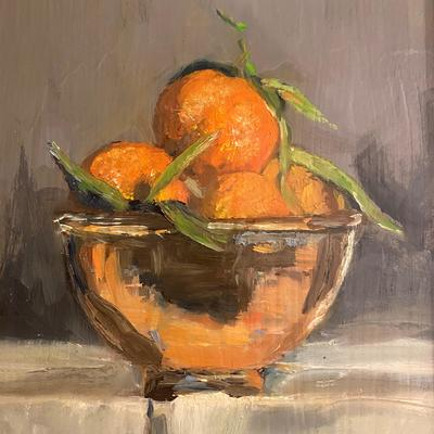 Clementines in a copper bowl  Oil on Board - framed £250 ( gold  and grey washed frame)