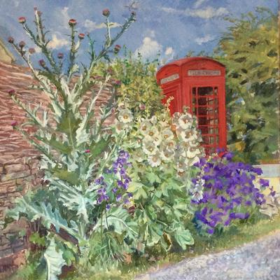 Garden by Telephone Kiosk 86x106cm oil £500