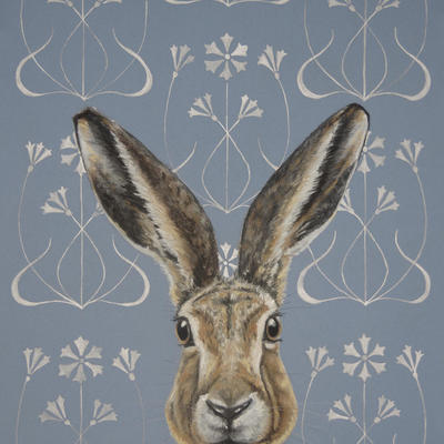 Art Nouveau Hare, Silver Ink and Pastel on board
