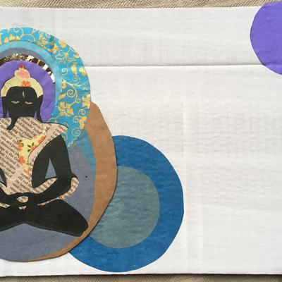 Yab-Yum, buddhas on fruit box and scrap paper
