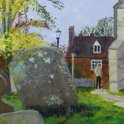 Church path SS peter and Paul Wantage detail Oil onc canvas $0 x 50 cm