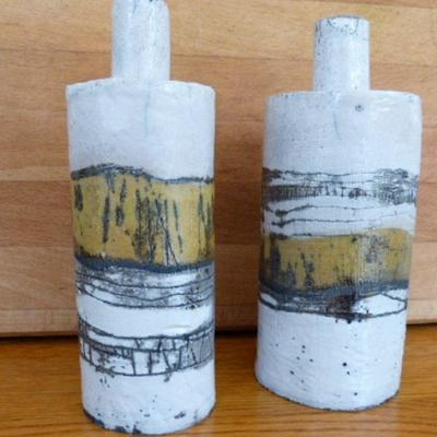 "Two""Landscape"" Raku Bottles, 19cm tall, £70"