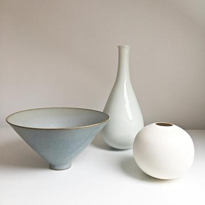 fine porcelain bowl, bud vase and bottle vase